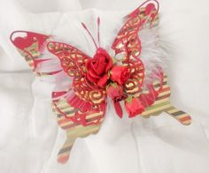 Handmade Shabby Chic Elegant Valentine Feather Butterfly Paper Piecing by Becky