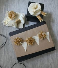wrapping embellishments with little pieces of felt and pom poms