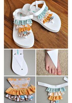 Ruffle Sandals | DIY Flip Flop Tutorial for Kids | Click for Tutorial | Summer Crafts for Kids to Make