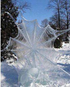Frozen spider web (ice sculpture) by Luis Trevino