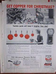 1959 Vintage Revere Ware Copper Bottom Cookware Christmas Miniature Skillet Ad