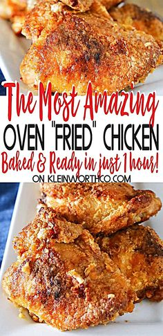 Simplify your dinner with this Oven Fried Chicken that comes out crispy delicious in about an hour Less mess clean up the best baked chicken recipe Ever bakedchicken chicken friedchicken ovenfriedchicken easydinner dinner easyrecipes Best Baked Chicken Recipe, Oven Chicken Recipes, Meat Recipes, Oven Baked Fried Chicken, Bake Chicken In Oven, Bisquick Oven Fried Chicken Recipe, Heavenly Chicken Recipe, Amazing Chicken Recipes, Chicken Fried Chicken