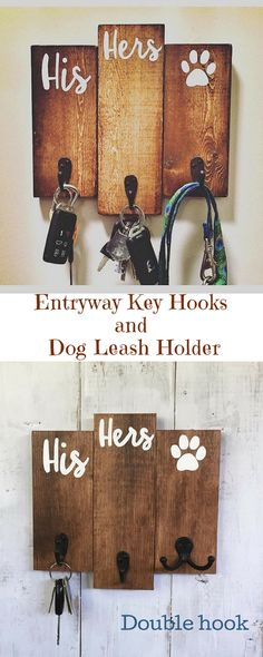 His, Hers & Dog Key Holder / Leash Hook Key Hanger / Leash and Collar Holder / Pawprint / Newlywed Gift / Wedding Gift / Dog / Paw #ad