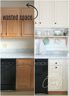 Learn how to raise kitchen cabinets to the ceiling and add a floating shelf underneath to maximize storage space in a small kitchen. #kitchenorganization #kitchendiy #kitchenstorage Diy Kitchen Cabinets, Kitchen Storage, Storage Spaces, Kitchen Cabinets, Kitchen Remodel, Kitchen Diy Makeover, Diy Kitchen, Kitchen Style, Kitchen Renovation