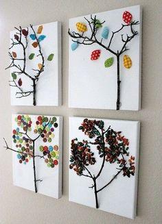 Ca y est c'est l'automne ! Voici pour l'occasion, l'idée d'une blogueuse (dont je n'ai pas identifié la nationalité une fois de plus) ! Au choix, vous pouvez, à côté d'une branche, découper des feuilles en papier de soie ,en tissus, avec des boutons ou...