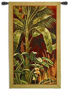 Bali Garden I Tapestry Wall Hanging - Botanical Composition, 35in x 60in