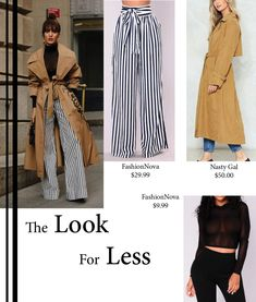 Get this trendy 2018 look for less Top- https://www.fashionnova.com/collections/fashion-tops/products/kassidy-%20mesh-top-%20black Pant- https://www.fashionnova.com/collections/pants/products/brea-stripe-pants-navy-white Trench- http://www.nastygal.com/keep-at-it-trench-coat/AGG91088-2.html