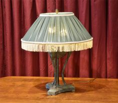 Metal Table Lamp with Green Shade