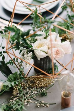 Home » Wedding Ideas » COLOR OF THE YEAR 2017 – Greenery Wedding Centerpiece Ideas » Copper greenery industrial modern wedding centerpiece