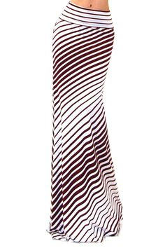 Burgundy Thin Stripe Maxi Skirt