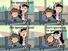 "The Fairly Odd Parents- Timmy Turner and Trixie Tang- ""Don't ignore me, I'm ignoring you! Women Logic, Image Gag, Girl Logic, The Fairly Oddparents, Videos Fun, Viral Videos, Funny Memes, Hilarious, Funny Quotes"