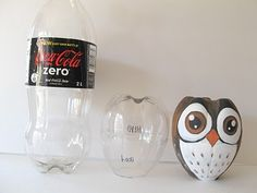 recycling plastic bottles: creative and clever with plastic bottles - crafts ideas - crafts for kids. There are some great ideas here Owl Crafts, Cute Crafts, Easy Crafts, Crafts For Kids, Animal Crafts, Empty Plastic Bottles, Plastic Bottle Crafts, Diy Bottle, Bottle Art
