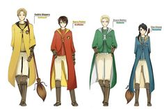 Cedric Diggory, Harry Potter, Draco Malfoy, Cho Chang: the Hogwarts house teams' Seekers!!!