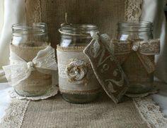 Burlap wedding VINTAGE lace wedding jars