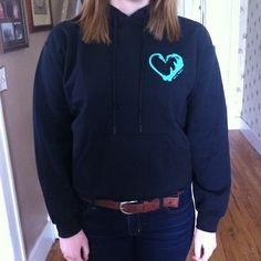 Black Hook n Antler hoodie with turquoise logo on front and back