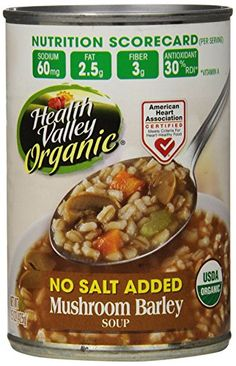 Health Valley Mushroom Barley No Salt Added, 15 Ounce Cans (Pack of 12) Health Valley http://www.amazon.com/dp/B001BM4ZMA/ref=cm_sw_r_pi_dp_vzorvb0RS4C53