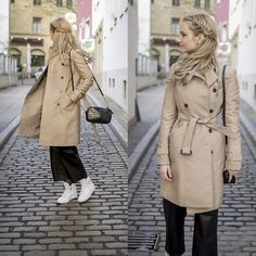 Adriana M. - Zara Beige Trench Coat, Mango Small Bag, Nike White Sneakers, Mango Leather Pants - Spring basic: beige trench coat