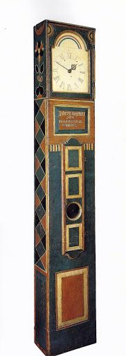 Tall Case Clock - Johannes Spitler (1774-1837), Shenandoah County, Virginia: 1801. Paint on yellow pine, with brass and steel works, modern watercolor and ink=on=period face, and original sheet=iron dial, 95.5 x 14.75 x 8.25 inches. Collection American Folk Art Museum, New York. Painting Antique Furniture, Painting On Wood, Painted Furniture, Painted Boxes, Painted Wood, Norwegian Rosemaling, Father Time, Shenandoah Valley, Antique Clocks