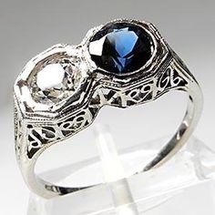 ANTIQUE ART DECO BLUE SAPPHIRE & OLD EUROPEAN CUT DIAMOND ENGAGEMENT RING SOLID 18K WHITE GOLD FILIGREE