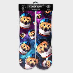 288937fd5ad5 Astronaught Kitty socks available now at our Big Cartel store!  www.samsonhosiery.bigcartel.com. Samson Hosiery · Custom Printed 3D Socks