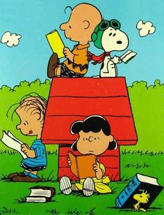 The Peanuts Gang catching up on their #cartoon