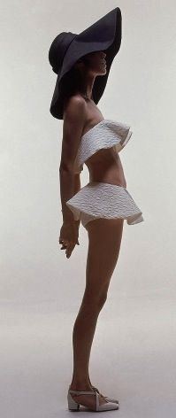 Photo by Bert Stern - Vogue, 1969 │Two-piece ruffle bathing suit