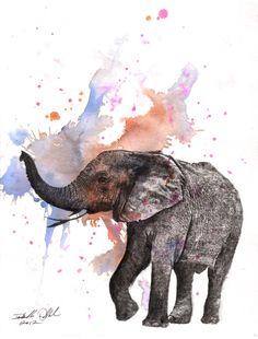Elephant Animal Watercolor Painting  Original by idillard on Etsy, $40.00