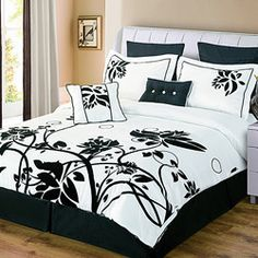 @Overstock - Large flocked floral vines reach upwards on this magnificent Chelsea comforter set. The floral design is raised and has a velvety feel which is set against a very fine faux silk winter white fabric.http://www.overstock.com/Bedding-Bath/Chelsea-Black-White-8-piece-Comforter-Set/6294845/product.html?CID=214117 $109.99