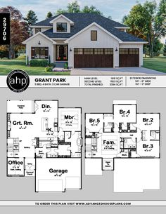 Story Modern Farmhouse Style House P. Sims House Plans, Two Story House Plans, House Layout Plans, Family House Plans, Craftsman House Plans, New House Plans, Dream House Plans, Modern House Plans, House Layouts