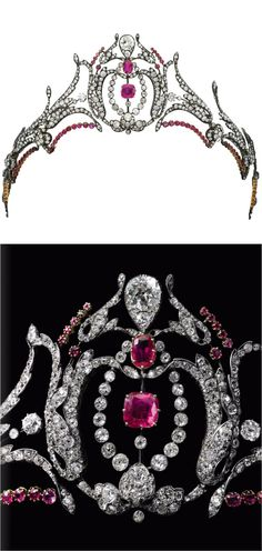 Ruby and diamond tiara, second half of the 19th century. Designed as a series of foliate sprays set with circular-cut, cushion-shaped and rose diamonds, later embellished with circular-cut rubies centred on a similarly set lyre motif, inner circumference approximately 290mm, five small diamonds deficient. Property from the estate of Mary, Duchess of Roxburghe. http://www.sothebys.com/pdf/2015/GE1502/index.html