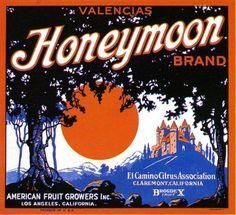 Claremont Honeymoon Orange Citrus Crate Label Art Print
