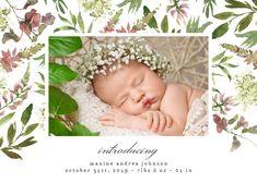Wild Flower - Birth Announcement Card #announcements #printable #diy #template #birth #baby #birthannouncements