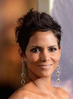 Custom Halle Berry Haircut Short Curly 100% Human Hair Mono Top Wigs