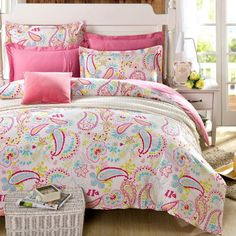 Cliab Paisley Bedding Pink Queen Girls Duvet Cover Set 100% Cotton 5 Pieces(Fitted sheet included)