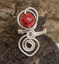 Silver ring,adjustable wire wrapped ring.Red magnesite gemstone ring £12.00