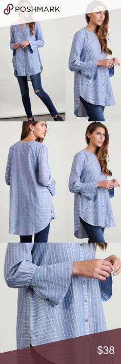 ❣️NEW❣️ Blue Pinstripe Button Down Tunic Top Beautiful detailed button down pinstripe blue top. Flared sleeves. Brand new. S M L runs true to women's sizing. Ships 10/19 Tops Button Down Shirts