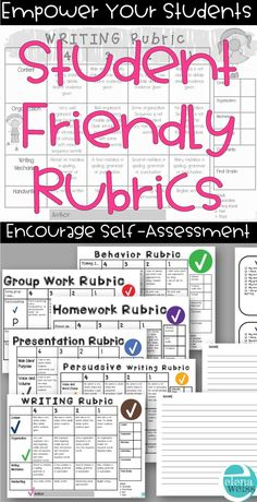 Empower your kids with these student friendly rubrics!