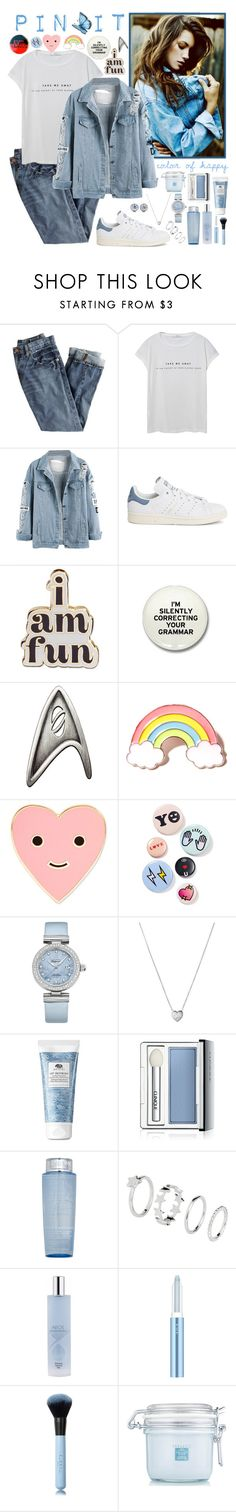 """""""Pins on Denim Jacket"""" by whims-and-craze ❤ liked on Polyvore featuring Varley, J.Crew, MANGO, adidas, ban.do, Local Heroes, Bing Bang, OMEGA, Links of London and Tiffany & Co."""
