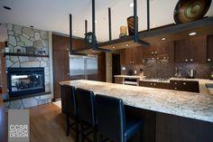 Suspended Shelving Kitchen | Kitchen with Suspended Shelf - Large Curved Granite Breakfast Bar ...
