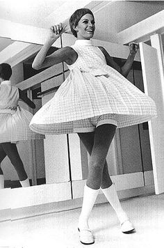 Swingin' checked playdress (minidress with matching shorts), knee socks, and Mary Janes, 1960s.