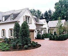 Brick drive, farmhouse exterior: