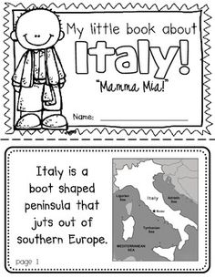 Italy Booklet (A Country Study!)-- Use during social studies units about countries around the world! TeachersPayTeachers