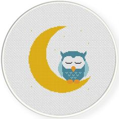 Sweet Dreams Owl Cross Stitch Illustration