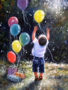 Birthday Boy Art Print little boy, balloons, celebrate, balloon paintings joyful… Arte Van Gogh, Its A Boy Balloons, Happy Balloons, Balloon Painting, Art Birthday, Birthday Balloons, Boy Art, Art Pictures, Photos