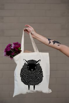 Hey, I found this really awesome Etsy listing at https://www.etsy.com/listing/201958961/black-sheep-tote-bag-by-gingiber