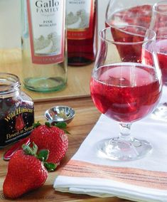 Pink Moscato Sangria with Strawberries & Hibiscus | Webicurean