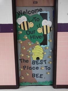 Welcome To Our Hive! Bee theme classroom door
