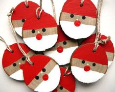 Santa Christmas Ornament 5 Pieces, Rustic Christmas Ornament, Christmas Gift Tag, Wooden Christmas Decorations - Best ROUTINES for Healthy Happy Life Rustic Christmas Ornaments, Wooden Christmas Decorations, Santa Ornaments, Christmas Wood, Christmas Gift Tags, Christmas Crafts For Kids, Xmas Crafts, Santa Christmas, Santa Crafts