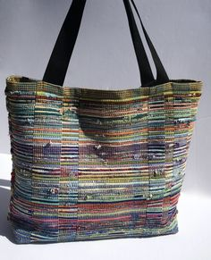 Extra Large Shabby Chic Rag Bag/ Boho bag/ Hit or Miss Handwoven Tote/Rag Rug Tote Large Tote, Bag Making, Lana, Diaper Bag, Hand Weaving, Shabby Chic, Tote Bag, Woven Bags, Recycled Clothing