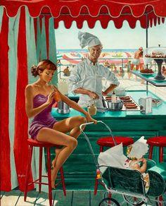 «Babysitter at Beach Stand», George Hughes (1907-1990)